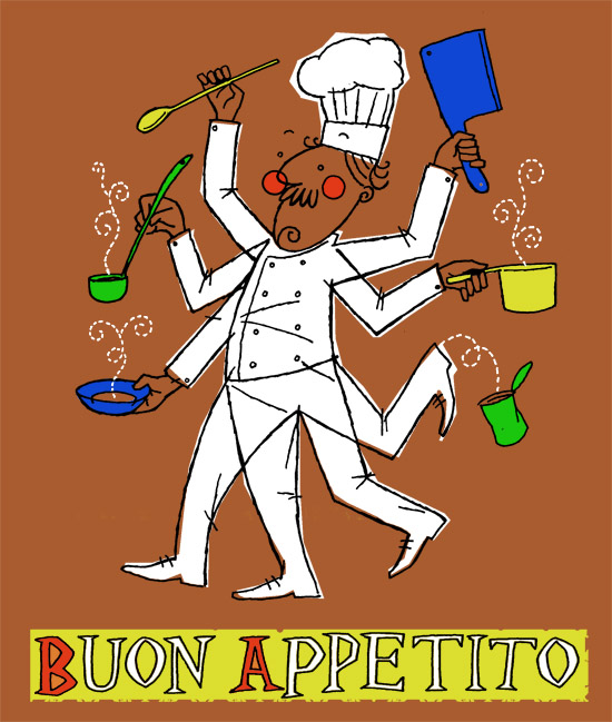 Buon Appetito - hand pulled 6 colour screenprint