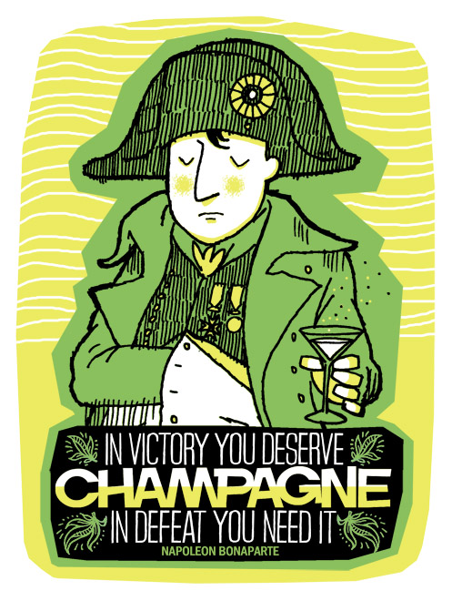 Napoleon's Champagne Quote - hand pulled 3 colour screenprint