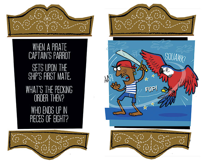 Fights of Fancy - Pirate vs Parrot illustration