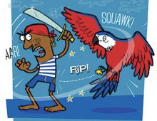 """Fights of Fancy"" – a book of comic verse – Pirate versus Parrot illustration"