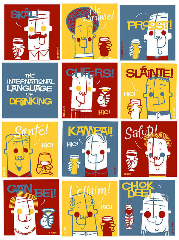 The international language of drinking - screenprint