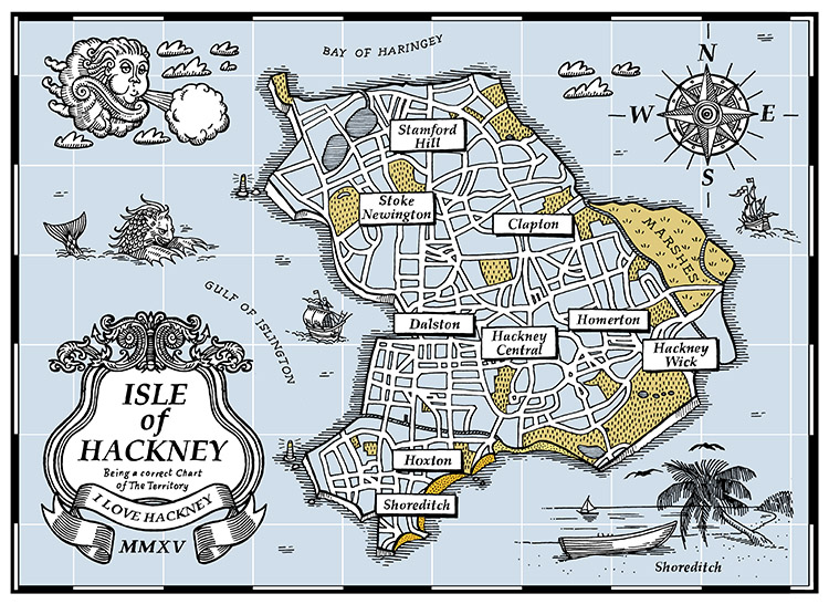 The Isle of Hackney Map - Screenprint